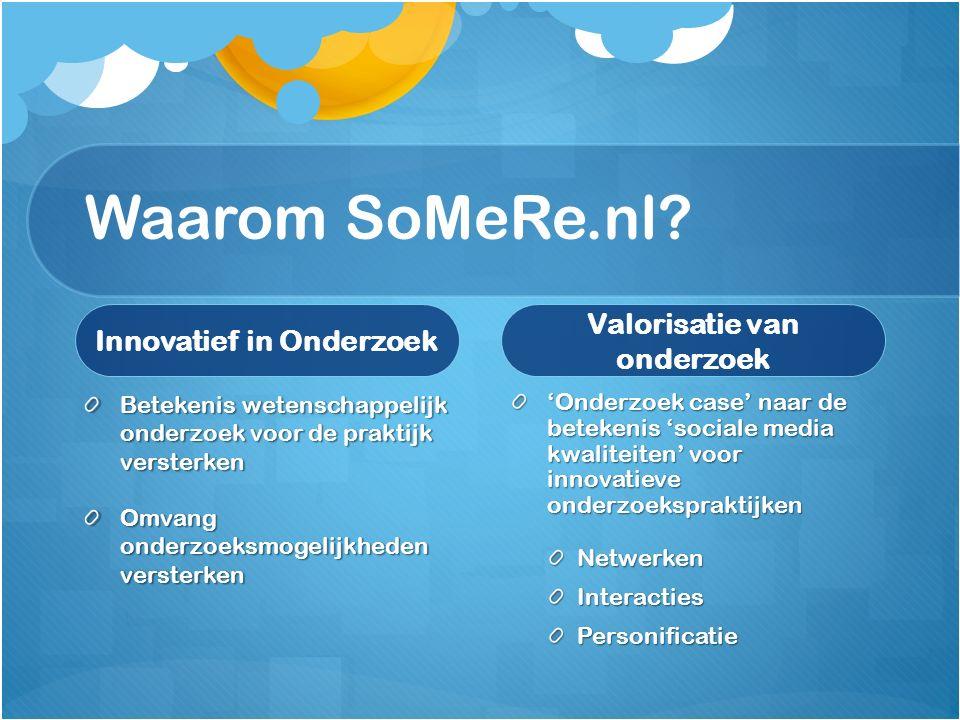 Waarom SoMeRe.nl? Innovatief in Onderzoek Betekenis wetenschappelijk onderzoek voor de praktijk versterken Omvang onderzoeksmogelijkheden versterken V