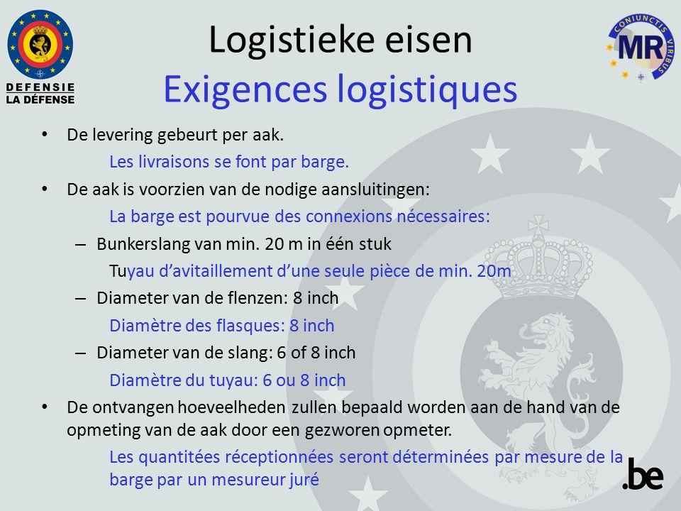 Logistieke eisen Exigences logistiques De levering gebeurt per aak.