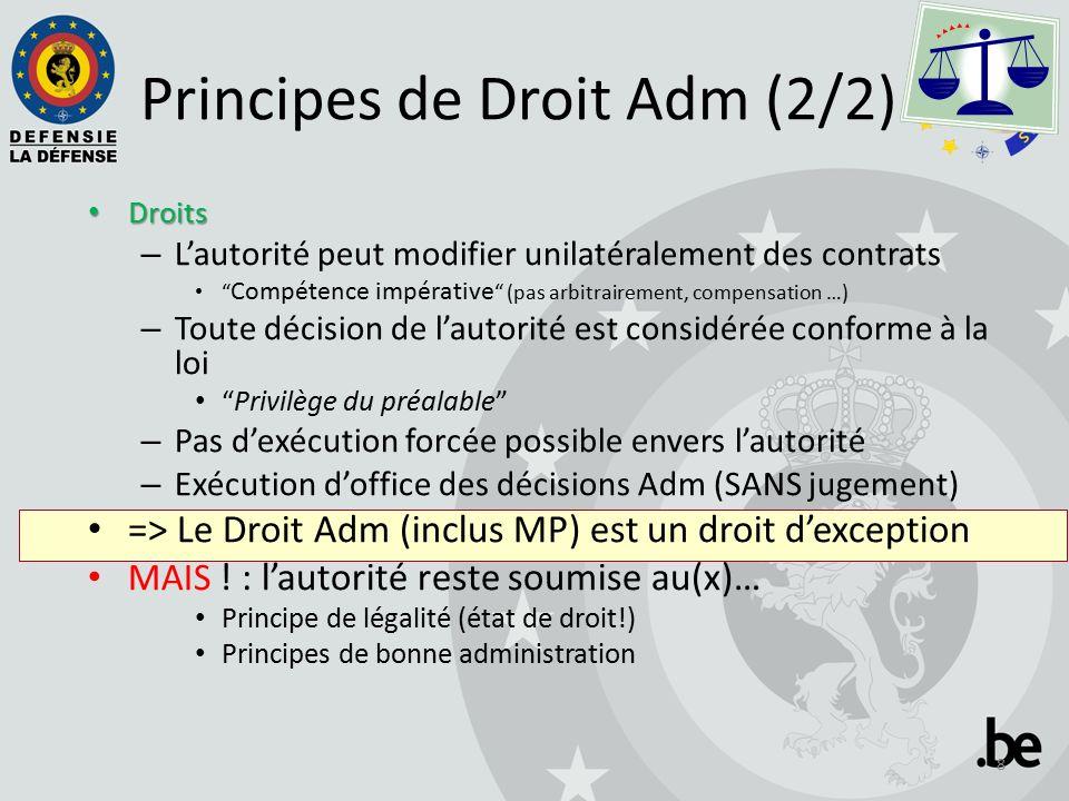 Principes de Droit Adm (2/2) Droits Droits – L'autorité peut modifier unilatéralement des contrats Compétence impérative (pas arbitrairement, compensation …) – Toute décision de l'autorité est considérée conforme à la loi Privilège du préalable – Pas d'exécution forcée possible envers l'autorité – Exécution d'office des décisions Adm (SANS jugement) => Le Droit Adm (inclus MP) est un droit d'exception MAIS .