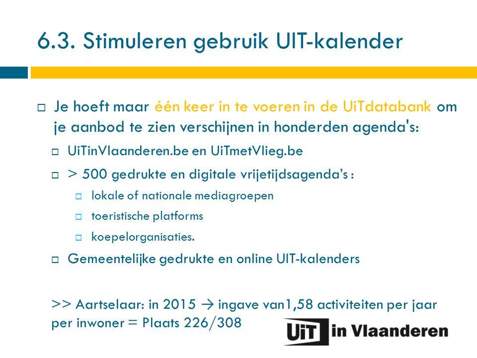 6.3. Stimuleren gebruik UIT-kalender  Je hoeft maar één keer in te voeren in de UiTdatabank om je aanbod te zien verschijnen in honderden agenda's: 