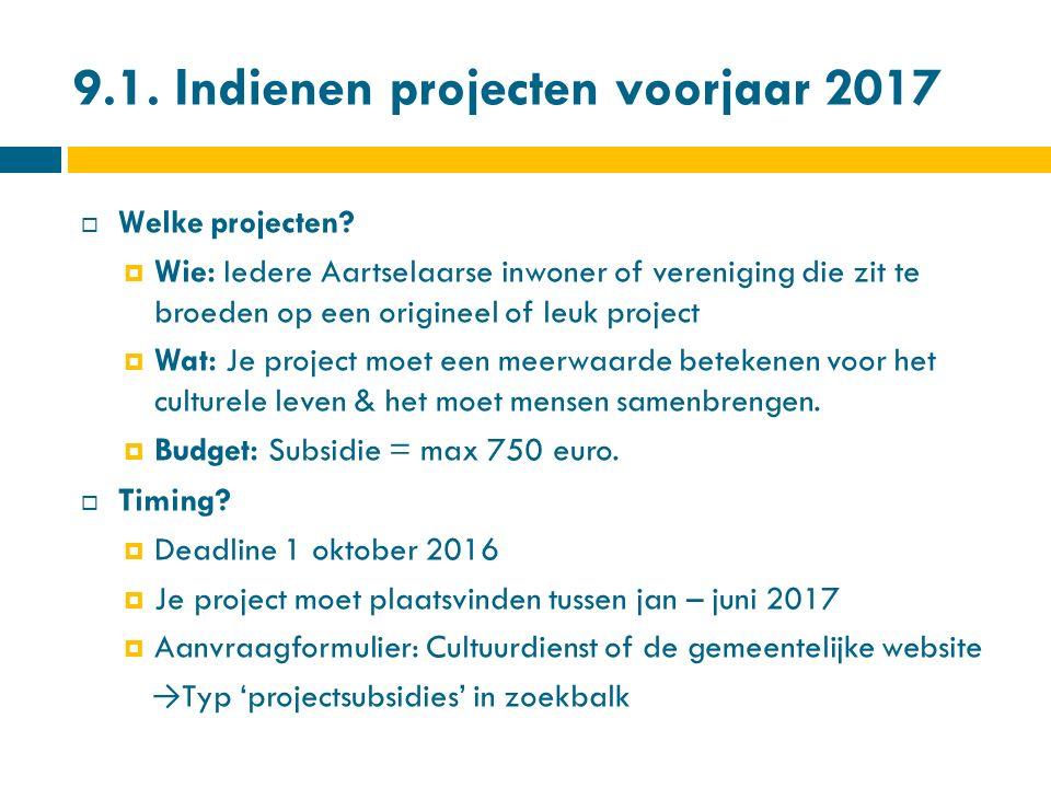 9.1.Indienen projecten voorjaar 2017  Welke projecten.