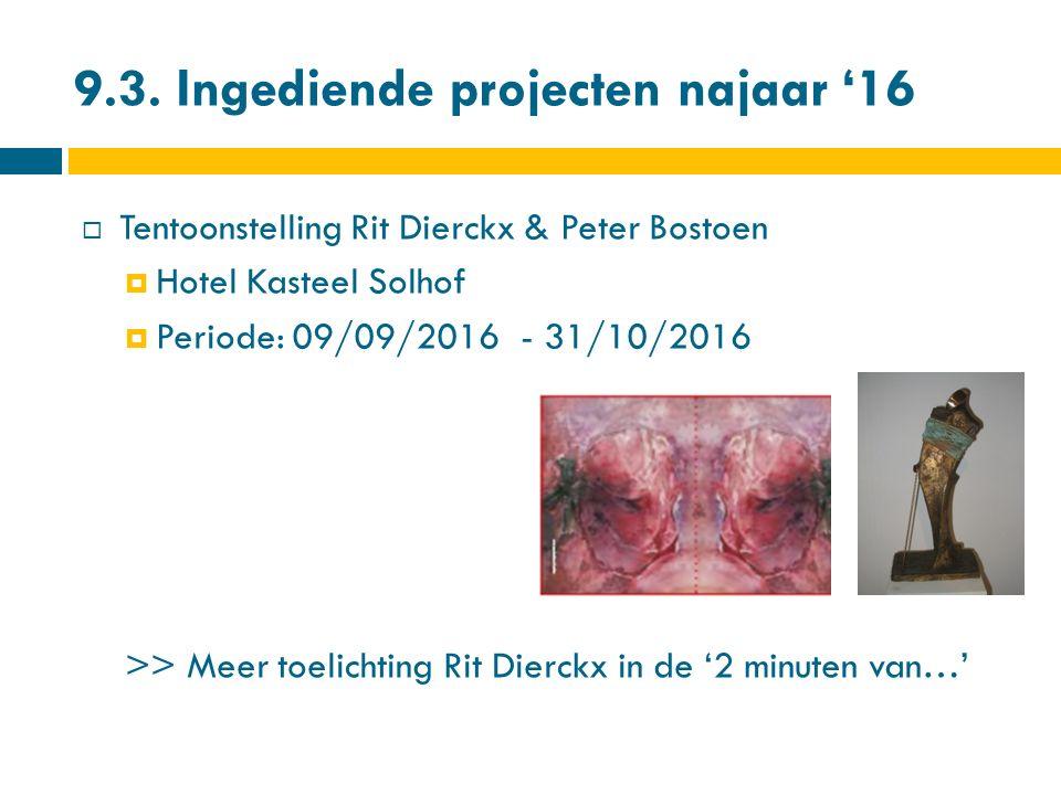 9.3. Ingediende projecten najaar '16  Tentoonstelling Rit Dierckx & Peter Bostoen  Hotel Kasteel Solhof  Periode: 09/09/2016 - 31/10/2016 >> Meer t