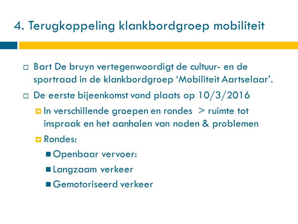 4. Terugkoppeling klankbordgroep mobiliteit  Bart De bruyn vertegenwoordigt de cultuur- en de sportraad in de klankbordgroep 'Mobiliteit Aartselaar'.