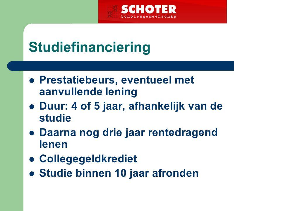 Studiefinanciering Prestatiebeurs, eventueel met aanvullende lening Duur: 4 of 5 jaar, afhankelijk van de studie Daarna nog drie jaar rentedragend lenen Collegegeldkrediet Studie binnen 10 jaar afronden