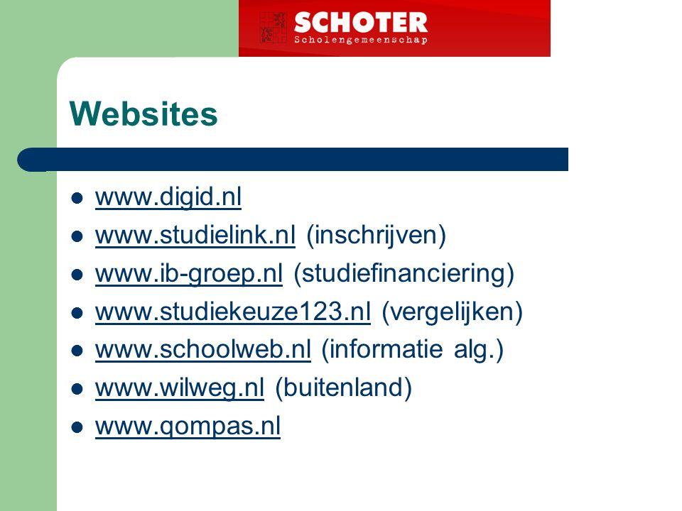 Websites www.digid.nl www.studielink.nl (inschrijven) www.studielink.nl www.ib-groep.nl (studiefinanciering) www.ib-groep.nl www.studiekeuze123.nl (vergelijken) www.studiekeuze123.nl www.schoolweb.nl (informatie alg.) www.schoolweb.nl www.wilweg.nl (buitenland) www.wilweg.nl www.qompas.nl