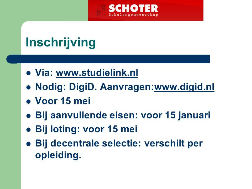 Inschrijving Via: www.studielink.nlwww.studielink.nl Nodig: DigiD.