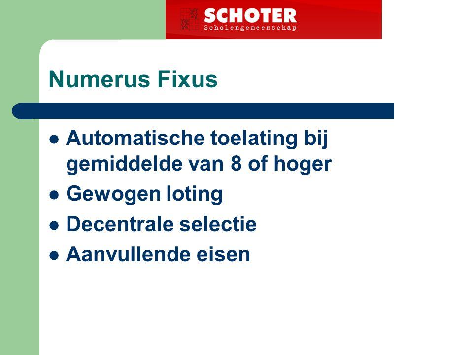 Numerus Fixus Automatische toelating bij gemiddelde van 8 of hoger Gewogen loting Decentrale selectie Aanvullende eisen
