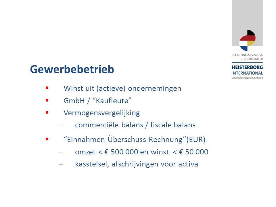 Gewerbebetrieb  Winst uit (actieve) ondernemingen  GmbH / Kaufleute  Vermogensvergelijking –commerciële balans / fiscale balans  Einnahmen-Überschuss-Rechnung (EUR) –omzet < € 500 000 en winst < € 50 000 –kasstelsel, afschrijvingen voor activa