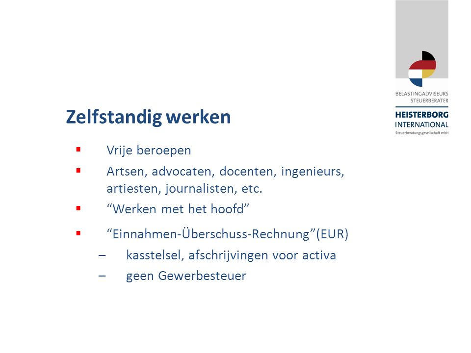"""Zelfstandig werken  Vrije beroepen  Artsen, advocaten, docenten, ingenieurs, artiesten, journalisten, etc.  """"Werken met het hoofd""""  """"Einnahmen-Übe"""