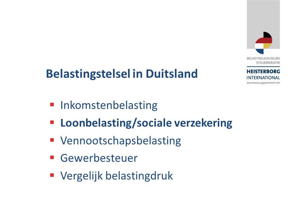  Inkomstenbelasting  Loonbelasting/sociale verzekering  Vennootschapsbelasting  Gewerbesteuer  Vergelijk belastingdruk Belastingstelsel in Duitsl