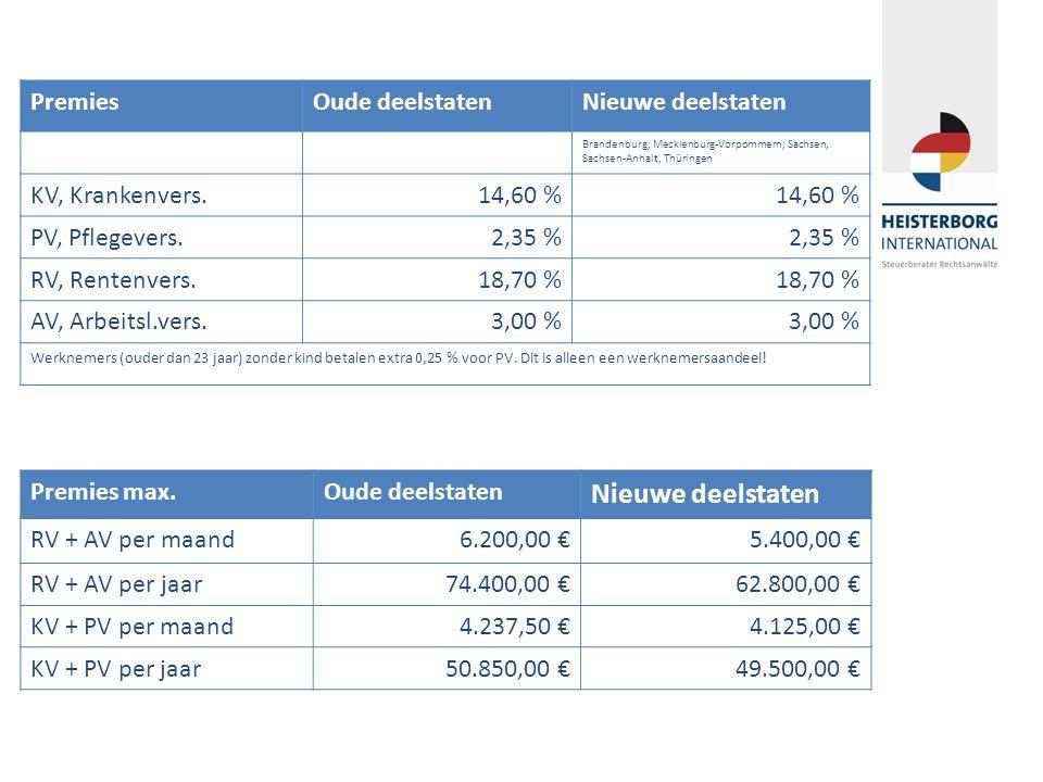 PremiesOude deelstatenNieuwe deelstaten Brandenburg, Mecklenburg-Vorpommern, Sachsen, Sachsen-Anhalt, Thüringen KV, Krankenvers.14,60 % PV, Pflegevers