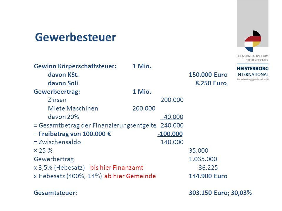 Gewerbesteuer Gewinn Körperschaftsteuer:1 Mio. davon KSt.150.000 Euro davon Soli 8.250 Euro Gewerbeertrag:1 Mio. Zinsen200.000 Miete Maschinen200.000
