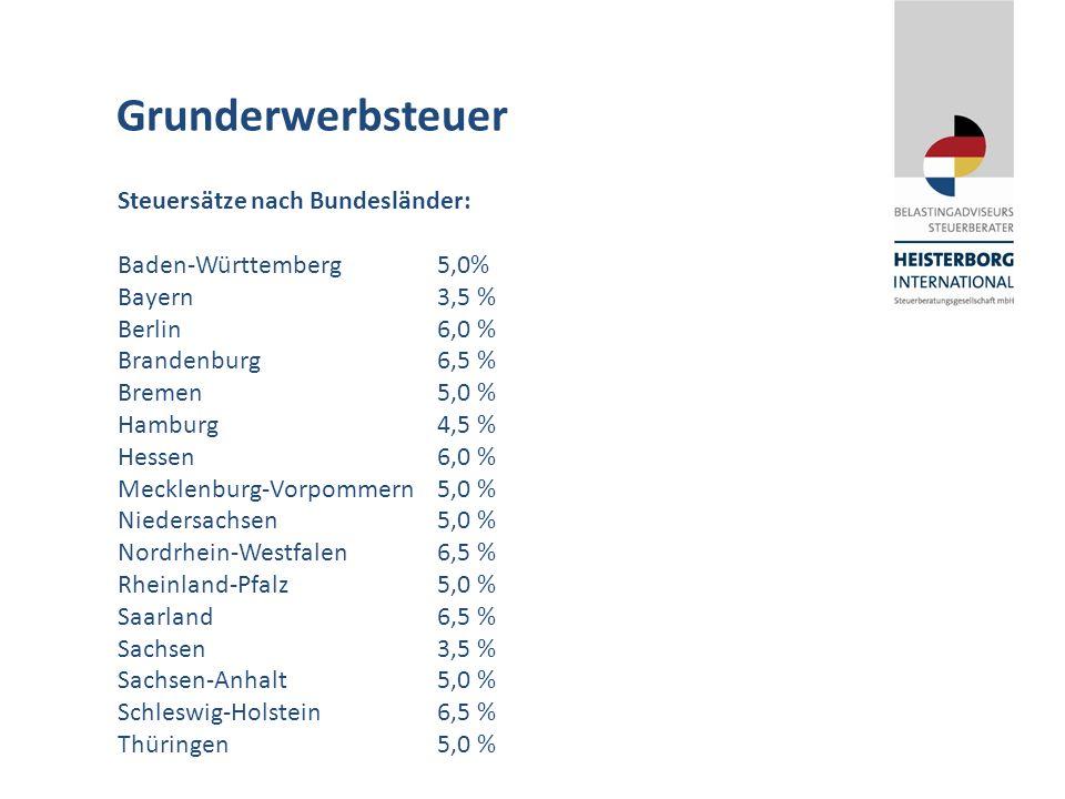 Grunderwerbsteuer Steuersätze nach Bundesländer: Baden-Württemberg5,0% Bayern3,5 % Berlin6,0 % Brandenburg6,5 % Bremen5,0 % Hamburg4,5 % Hessen6,0 % Mecklenburg-Vorpommern5,0 % Niedersachsen5,0 % Nordrhein-Westfalen6,5 % Rheinland-Pfalz5,0 % Saarland6,5 % Sachsen3,5 % Sachsen-Anhalt5,0 % Schleswig-Holstein6,5 % Thüringen5,0 %