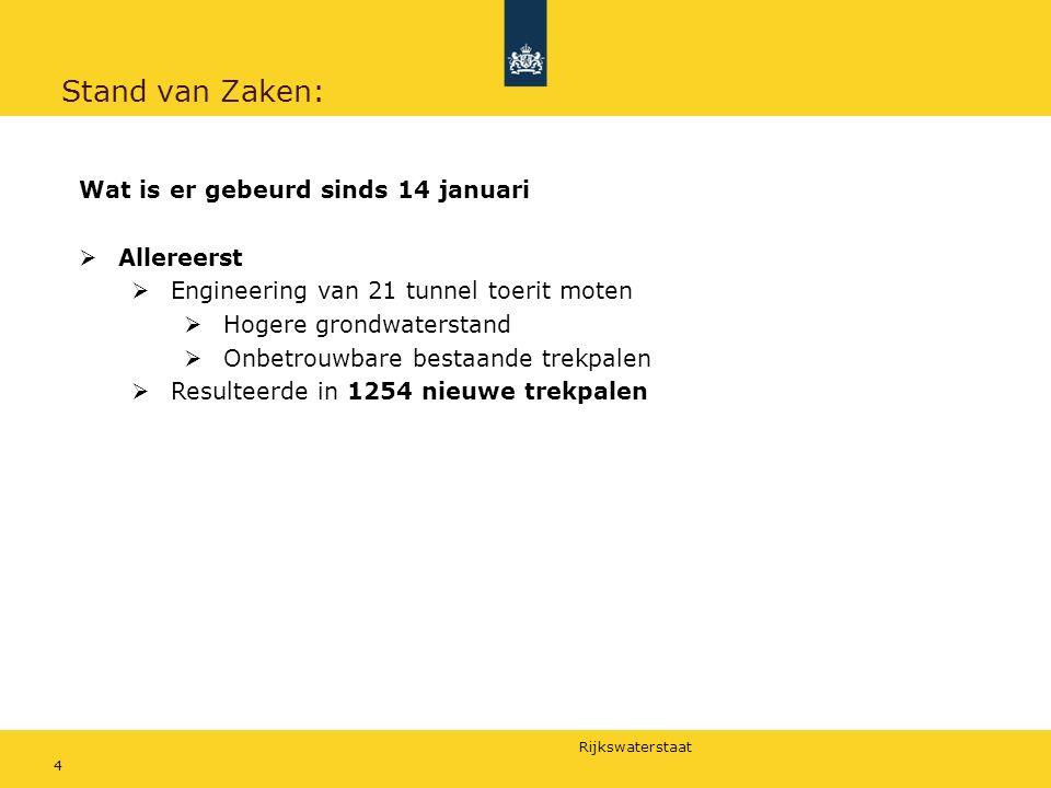 Rijkswaterstaat 5 Stand van Zaken: Start werkzaamheden 25 januari op oostelijke toerit, Noordbuis Gelijk een enorme drukte