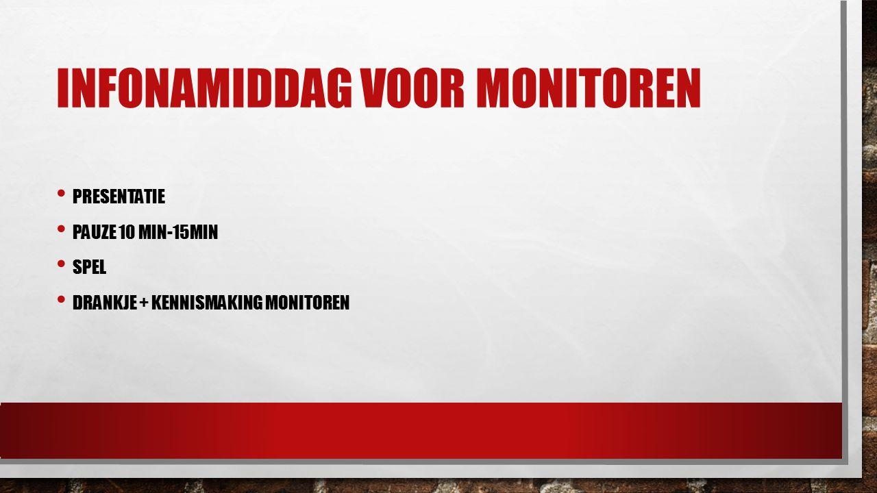 INFONAMIDDAG VOOR MONITOREN PRESENTATIE PAUZE 10 MIN-15MIN SPEL DRANKJE + KENNISMAKING MONITOREN