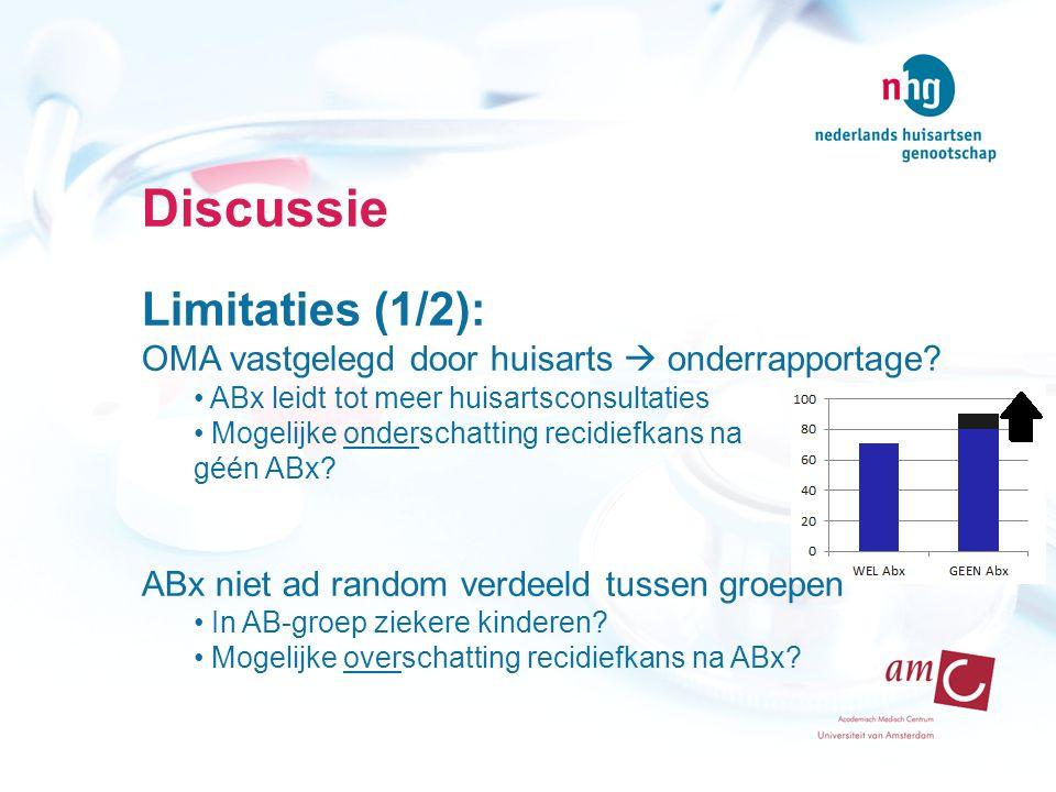 Discussie Limitaties (1/2): OMA vastgelegd door huisarts  onderrapportage? ABx leidt tot meer huisartsconsultaties Mogelijke onderschatting recidiefk