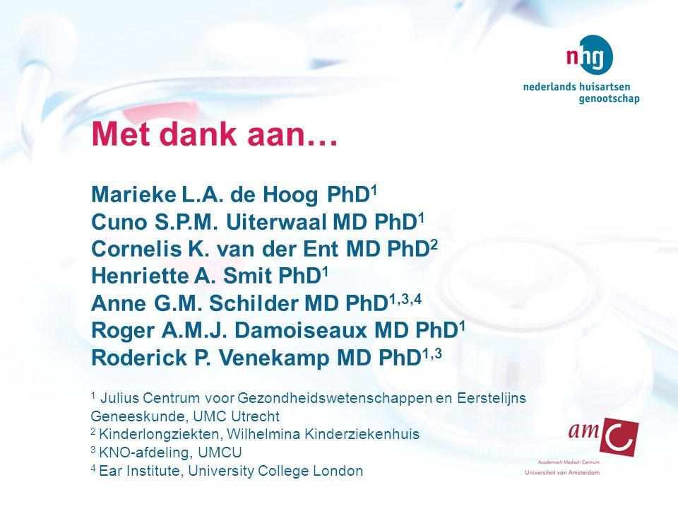 Met dank aan… Marieke L.A. de Hoog PhD 1 Cuno S.P.M. Uiterwaal MD PhD 1 Cornelis K. van der Ent MD PhD 2 Henriette A. Smit PhD 1 Anne G.M. Schilder MD