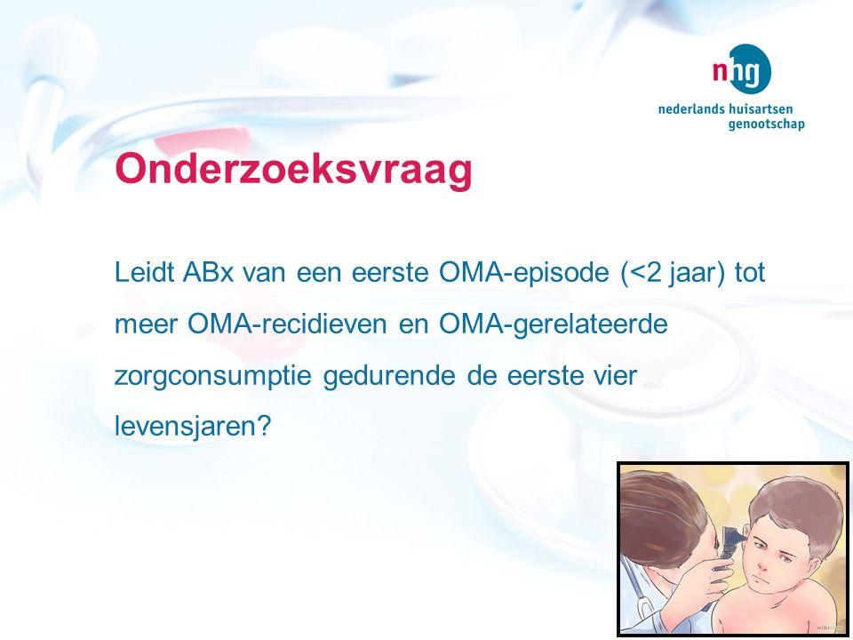 Onderzoeksvraag Leidt ABx van een eerste OMA-episode (<2 jaar) tot meer OMA-recidieven en OMA-gerelateerde zorgconsumptie gedurende de eerste vier lev
