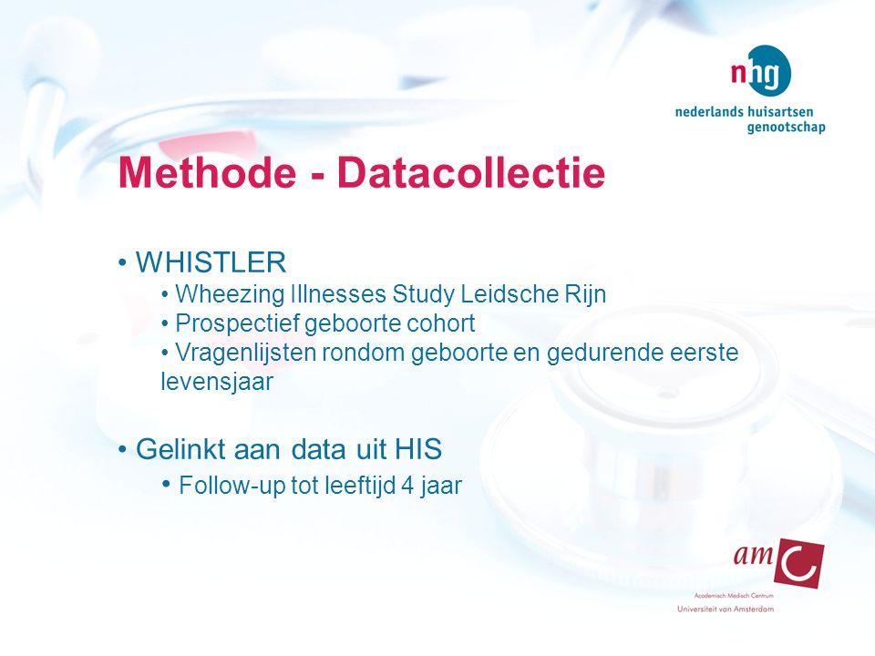 Methode - Datacollectie WHISTLER Wheezing Illnesses Study Leidsche Rijn Prospectief geboorte cohort Vragenlijsten rondom geboorte en gedurende eerste