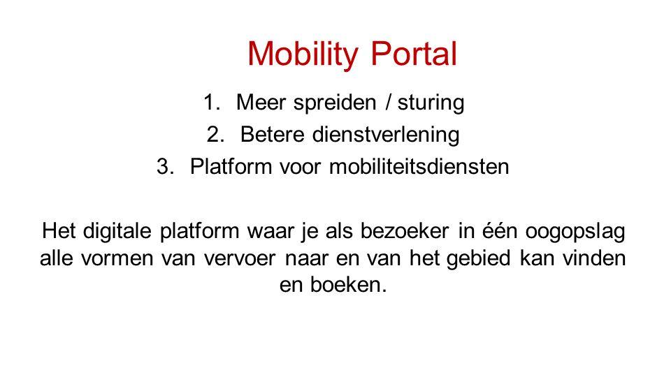 Mobility Portal 1.Meer spreiden / sturing 2.Betere dienstverlening 3.Platform voor mobiliteitsdiensten Het digitale platform waar je als bezoeker in é