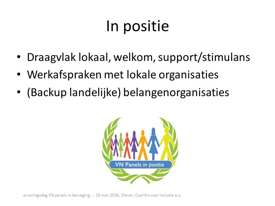 In positie Draagvlak lokaal, welkom, support/stimulans Werkafspraken met lokale organisaties (Backup landelijke) belangenorganisaties ervaringsdag VN