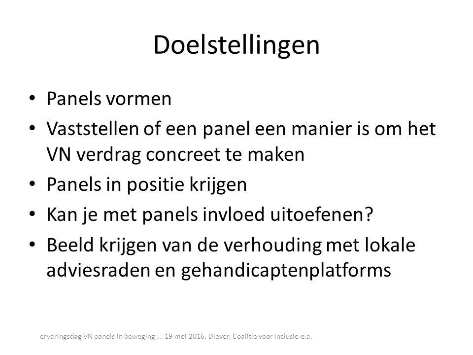 Doelstellingen Panels vormen Vaststellen of een panel een manier is om het VN verdrag concreet te maken Panels in positie krijgen Kan je met panels in