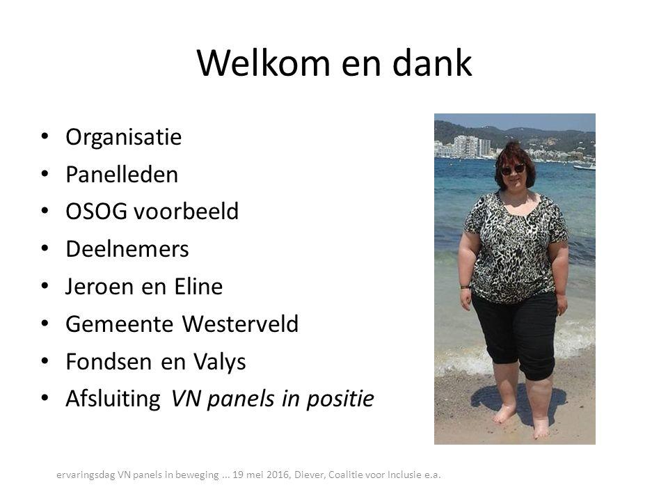 Welkom en dank Organisatie Panelleden OSOG voorbeeld Deelnemers Jeroen en Eline Gemeente Westerveld Fondsen en Valys Afsluiting VN panels in positie ervaringsdag VN panels in beweging...