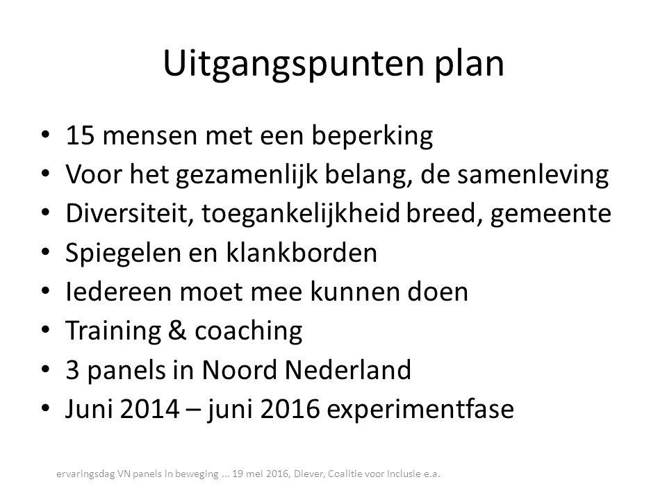 Uitgangspunten plan 15 mensen met een beperking Voor het gezamenlijk belang, de samenleving Diversiteit, toegankelijkheid breed, gemeente Spiegelen en