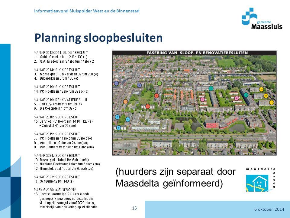 6 oktober 2014 Informatieavond Sluispolder West en de Binnenstad 15 Planning sloopbesluiten (huurders zijn separaat door Maasdelta geïnformeerd)