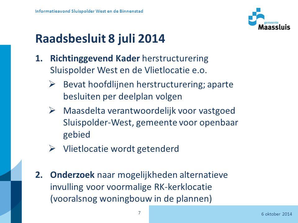 Raadsbesluit 8 juli 2014 1.Richtinggevend Kader herstructurering Sluispolder West en de Vlietlocatie e.o.
