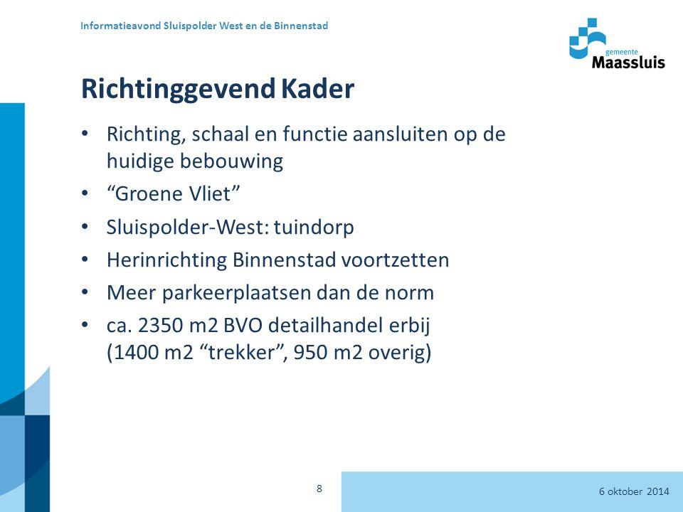 Richtinggevend Kader Richting, schaal en functie aansluiten op de huidige bebouwing Groene Vliet Sluispolder-West: tuindorp Herinrichting Binnenstad voortzetten Meer parkeerplaatsen dan de norm ca.