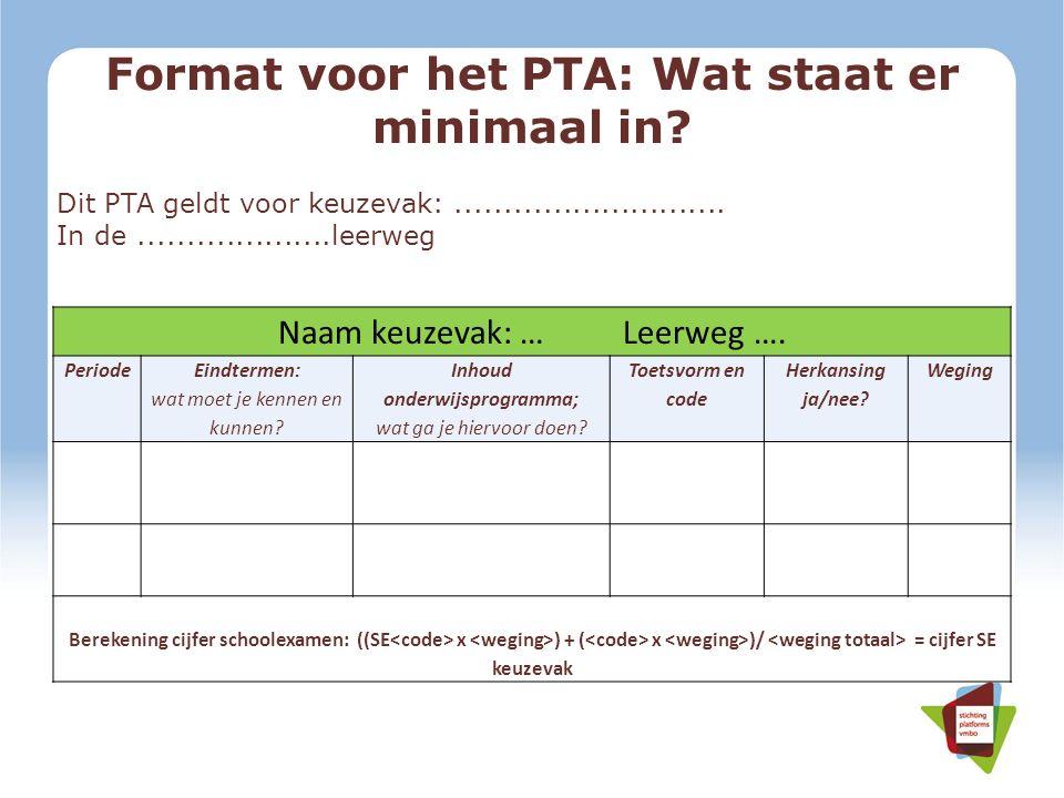 Format voor het PTA: Wat staat er minimaal in? Dit PTA geldt voor keuzevak:............................ In de....................leerweg Naam keuzevak