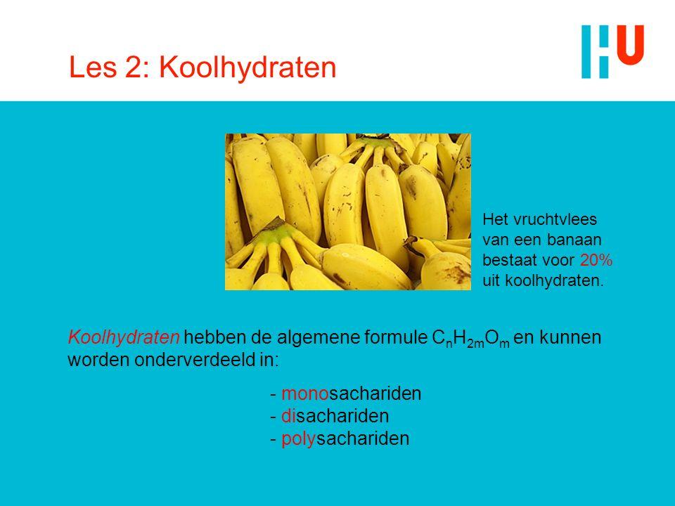 Les 2: Koolhydraten Koolhydraten hebben de algemene formule C n H 2m O m en kunnen worden onderverdeeld in: - monosachariden - disachariden - polysach