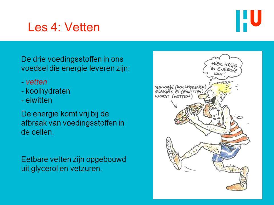 Les 4: Vetten De drie voedingsstoffen in ons voedsel die energie leveren zijn: - vetten - koolhydraten - eiwitten De energie komt vrij bij de afbraak
