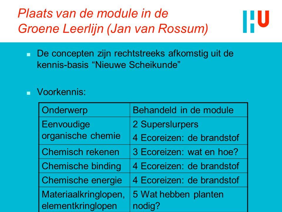 """Plaats van de module in de Groene Leerlijn (Jan van Rossum) n De concepten zijn rechtstreeks afkomstig uit de kennis-basis """"Nieuwe Scheikunde"""" n Voork"""