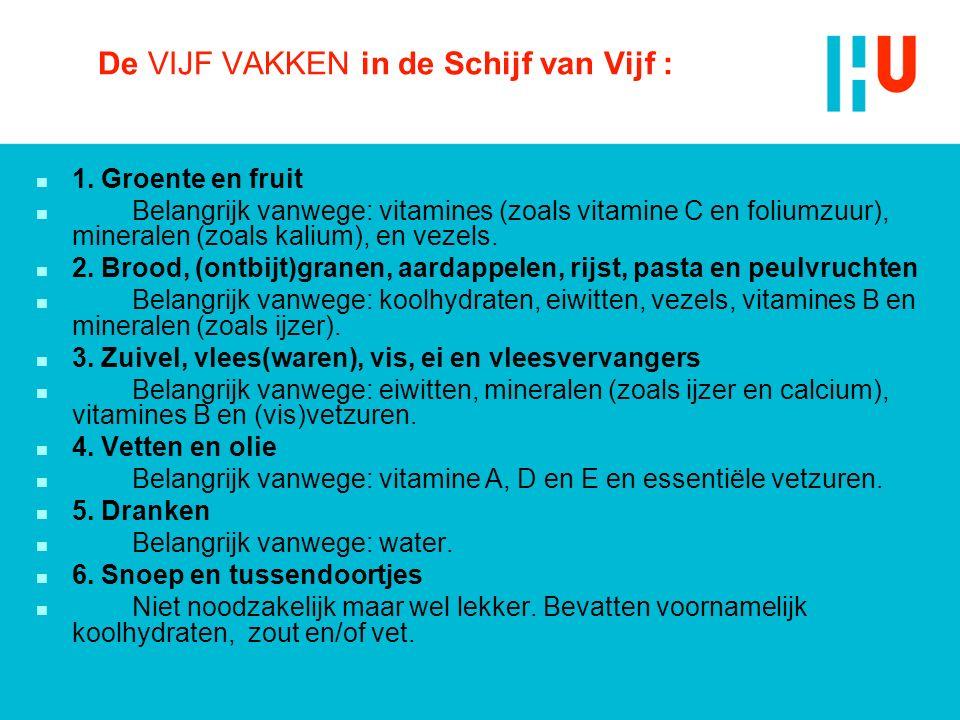 De VIJF VAKKEN in de Schijf van Vijf : n 1. Groente en fruit n Belangrijk vanwege: vitamines (zoals vitamine C en foliumzuur), mineralen (zoals kalium
