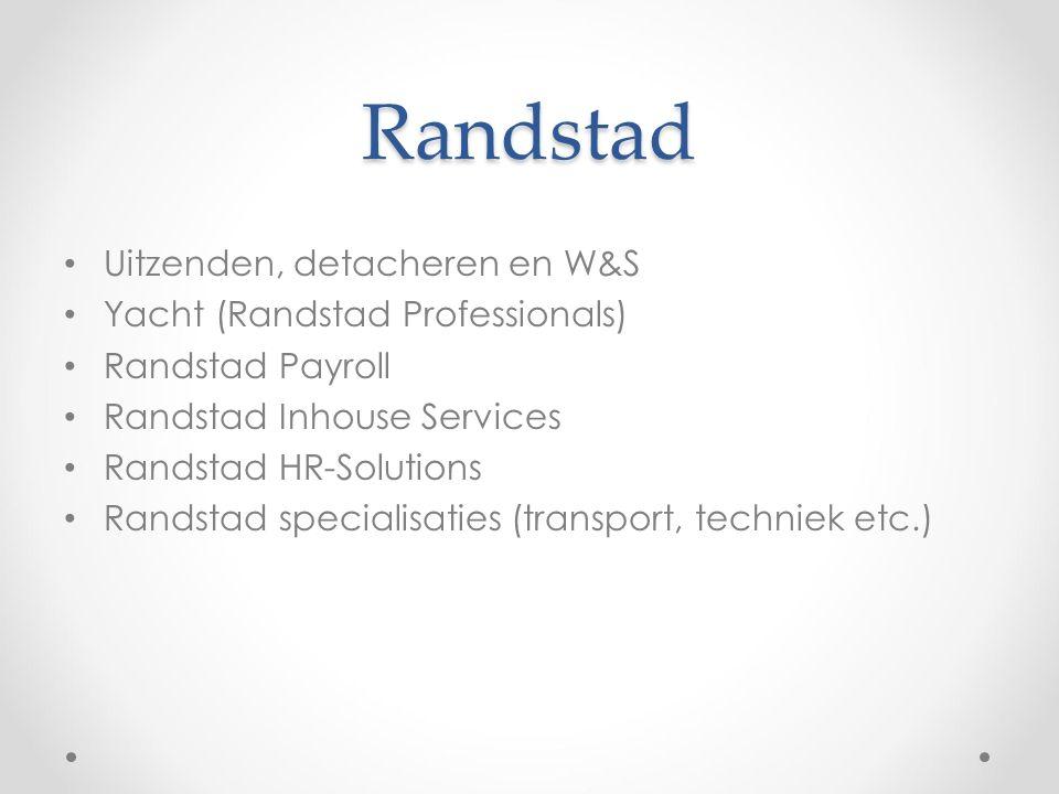Randstad Uitzenden, detacheren en W&S Yacht (Randstad Professionals) Randstad Payroll Randstad Inhouse Services Randstad HR-Solutions Randstad specialisaties (transport, techniek etc.)
