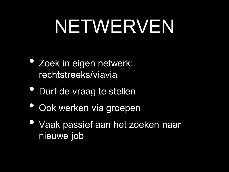NETWERVEN Zoek in eigen netwerk: rechtstreeks/viavia Durf de vraag te stellen Ook werken via groepen Vaak passief aan het zoeken naar nieuwe job