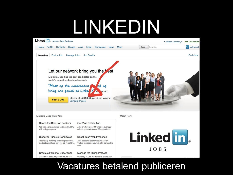 LINKEDIN Vacatures betalend publiceren