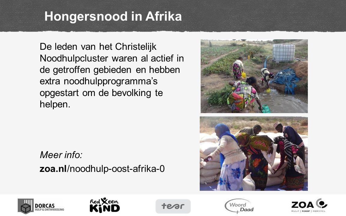 De leden van het Christelijk Noodhulpcluster waren al actief in de getroffen gebieden en hebben extra noodhulpprogramma's opgestart om de bevolking te