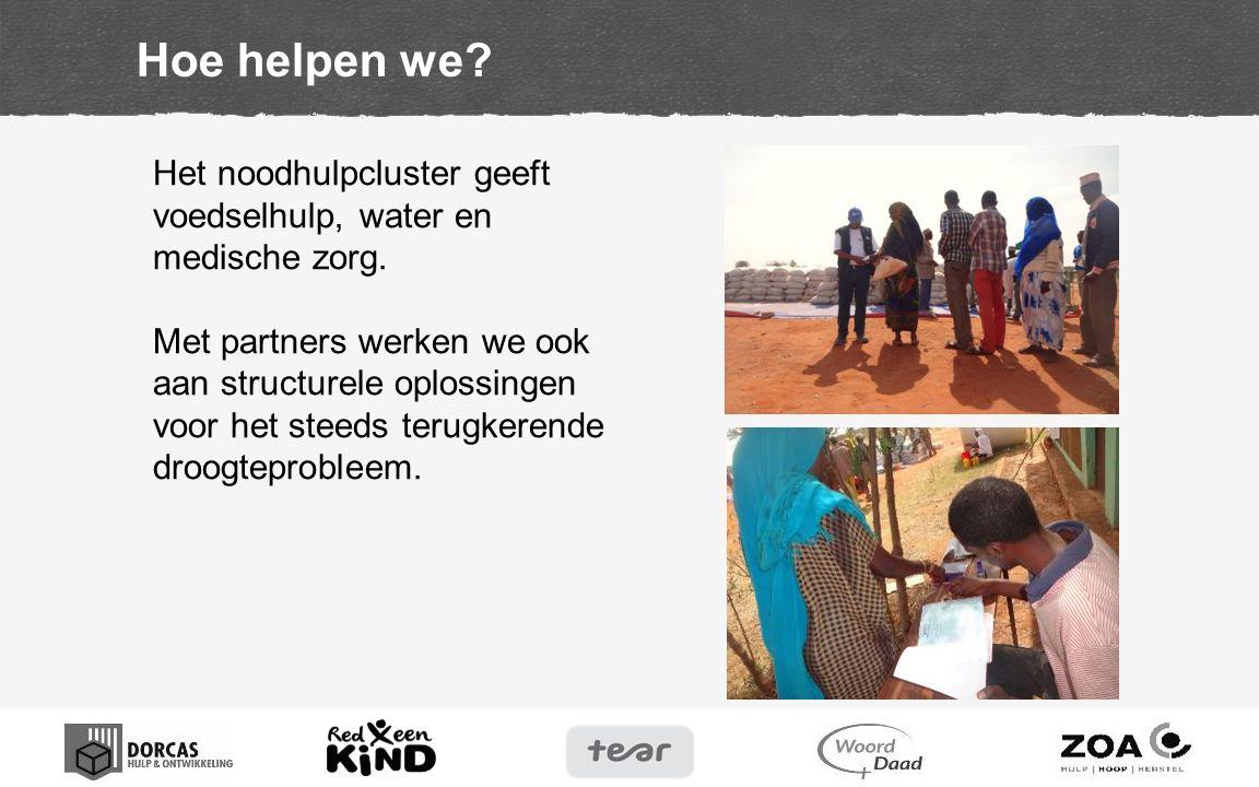 Hoe helpen we? Het noodhulpcluster geeft voedselhulp, water en medische zorg. Met partners werken we ook aan structurele oplossingen voor het steeds t