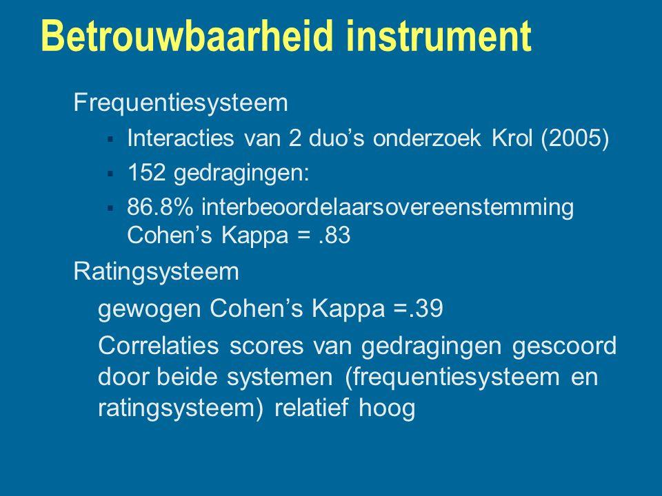 Betrouwbaarheid instrument Frequentiesysteem  Interacties van 2 duo's onderzoek Krol (2005)  152 gedragingen:  86.8% interbeoordelaarsovereenstemmi