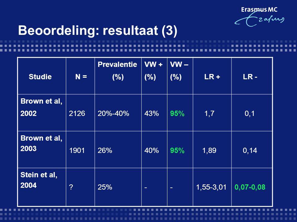 Beoordeling: resultaat (3) Studie N = Prevalentie (%) VW + (%) VW – (%) LR + LR - Brown et al, 2002212620%-40%43%95% 1,7 0,1 Brown et al, 2003 190126%40%95% 1,89 0,14 Stein et al, 2004 25%--1,55-3,010,07-0,08