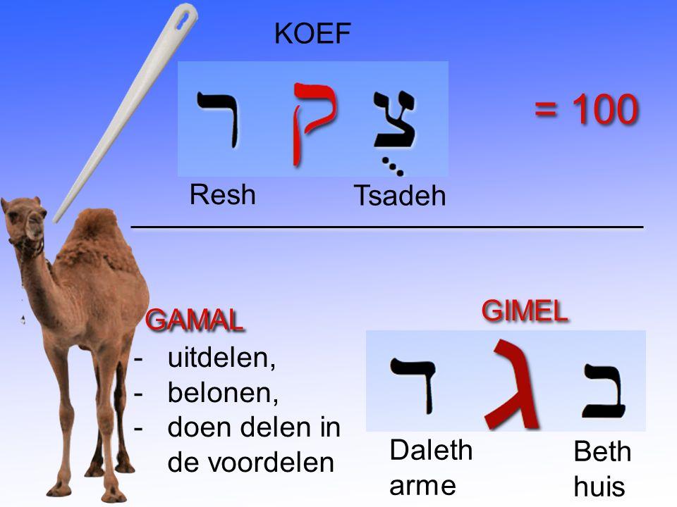 GAMAL -uitdelen, -belonen, -doen delen in de voordelen GIMEL Beth huis Daleth arme KOEF Tsadeh Resh = 100