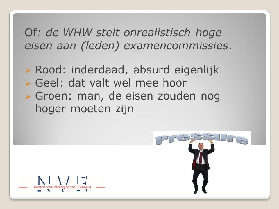 Of: de WHW stelt onrealistisch hoge eisen aan (leden) examencommissies.  Rood: inderdaad, absurd eigenlijk  Geel: dat valt wel mee hoor  Groen: man