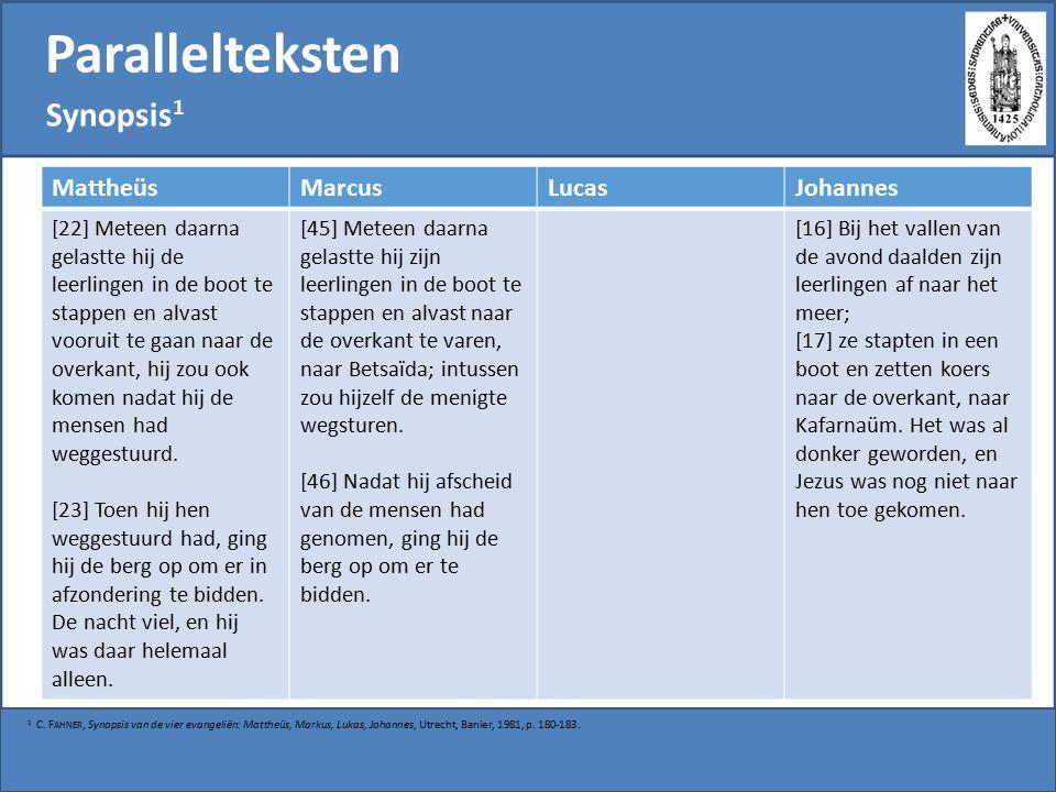 Parallelteksten Synopsis 1 1 C.