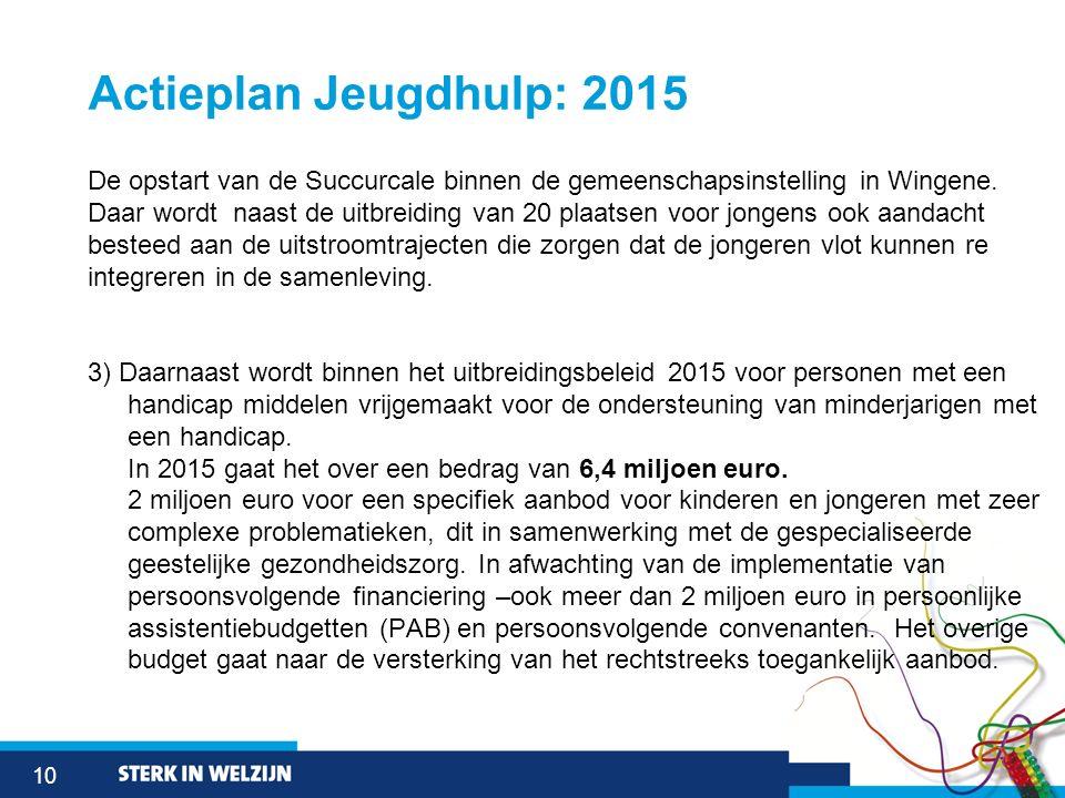 10 Actieplan Jeugdhulp: 2015 De opstart van de Succurcale binnen de gemeenschapsinstelling in Wingene. Daar wordt naast de uitbreiding van 20 plaatsen