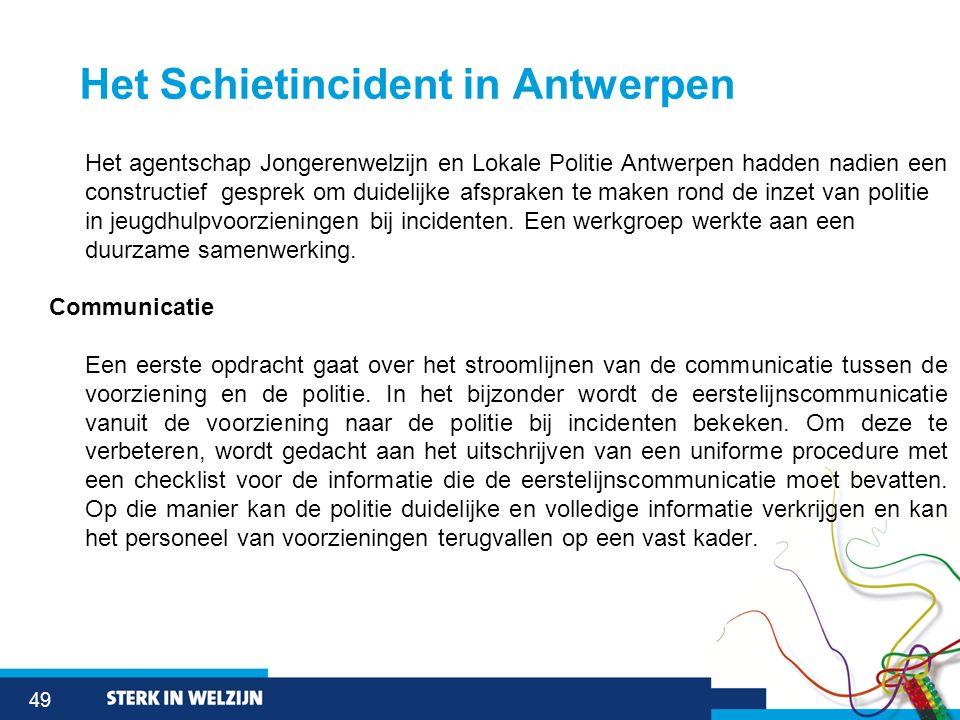 49 Het Schietincident in Antwerpen Het agentschap Jongerenwelzijn en Lokale Politie Antwerpen hadden nadien een constructief gesprek om duidelijke afs