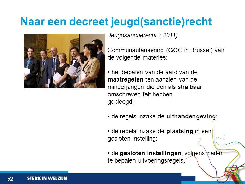 52 Naar een decreet jeugd(sanctie)recht Jeugdsanctierecht ( 2011) Communautarisering (GGC in Brussel) van de volgende materies: het bepalen van de aar