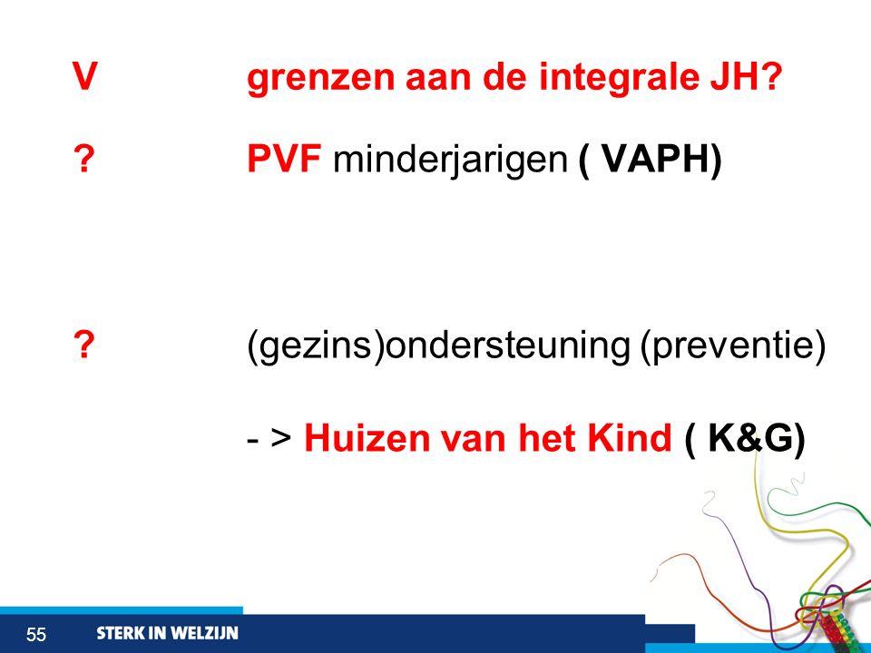 55 Vgrenzen aan de integrale JH? ? PVF minderjarigen ( VAPH) ? (gezins)ondersteuning (preventie) - > Huizen van het Kind ( K&G)